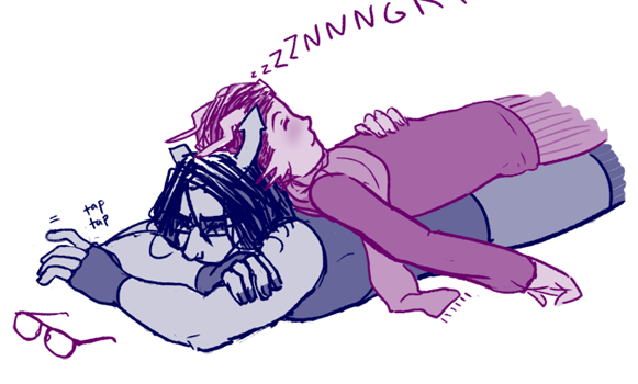 I have a silly headcanon where Eridan is ridiculously clingy, to the point of using other people as furniture, and only Equius will put up with it. Begrudgingly. Because sometimes it's a dominance thing…but most of the time it's just a barnacle thing. Also he snores real loud. I need to step away from the computer sometime today.