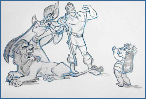 Gaston, Scar, Jafar and Lilo, by Andreas Deja.
