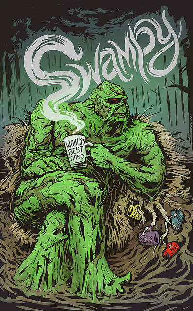 burtondurand:  Swamp Thing enjoying some really green tea. Last week my Twitter friend / rockstar photographer Ryan Russell suggested that I draw Swamp Thing. Having never done so before, I eagerly accepted the challenge. Of course, I had to throw in some humor in the form of swampy mug slogans.