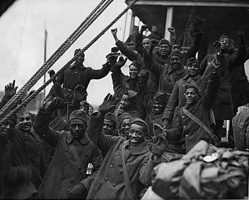 New York's famous 369th regiment arrives home from France, 1919.Nicknamed the Harlem Hellfighters, the 369th Regiment was the first all-black regiment to fight in World War I. They arrived in France in 1918 and fought on the front lines for six months, longer than any other American unit during the war. Source: ca. 1919, Still Picture Records Section, Special Media Archives Services Division (NWCS-S), National Archives at College Park, MD.