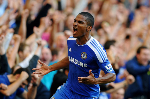 Florent Malouda of Chelsea celebrates after scoring the goal