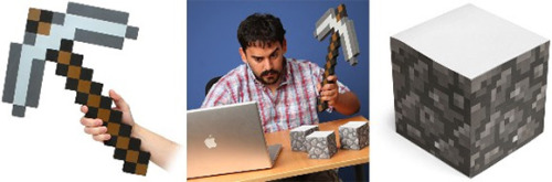 mikaelchoe:  Minecraft Foam Pickaxe and stone block by thinkgeek  buy the axe here($20) buy the sticky notes here($10)  THESE ARE THINGS YOU NEED IN YOUR LIFE PEOPLE.
