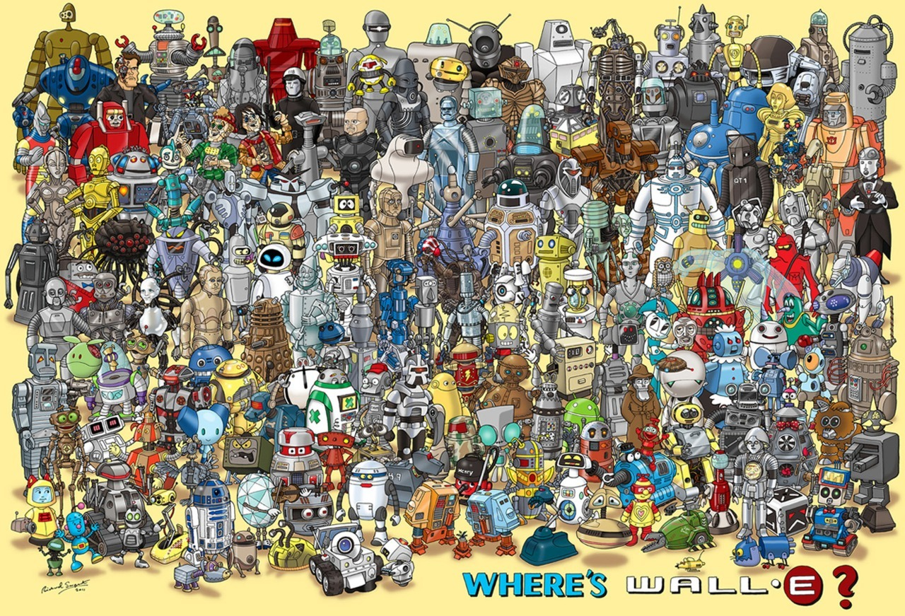 Where's Wall-E? All the Robots that matter! Rosie, R2, Droid, Plex, Evil Bill & Ted, and that Fembot from Space Balls!!