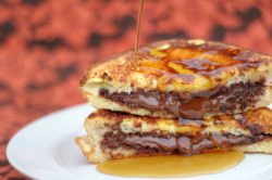NUTELLA STUFFED FRENCH TOAST (serves 2) 4 slices Texas Toast (get the good stuff, you'll thank me later) 2 eggs 1/4 cup heavy cream 1/8 cup powdered sugar 4 Tbsp Nutella maple syrup Preheat a nonstick skillet over medium low heat.  In a bowl whisk together the eggs, cream, and powdered sugar.  Take 2 slices of the Texas Toast and spread 1 Tbsp of Nutella on each one.  Sandwich together and dip both sides in the custard mixture.  Grill on each side until brown, about 3-4 minutes.  Remove from heat and serve immediately with maple syrup (although, as Nate said, if you wanted to ruin it by serving with fruit you could totally do that too).