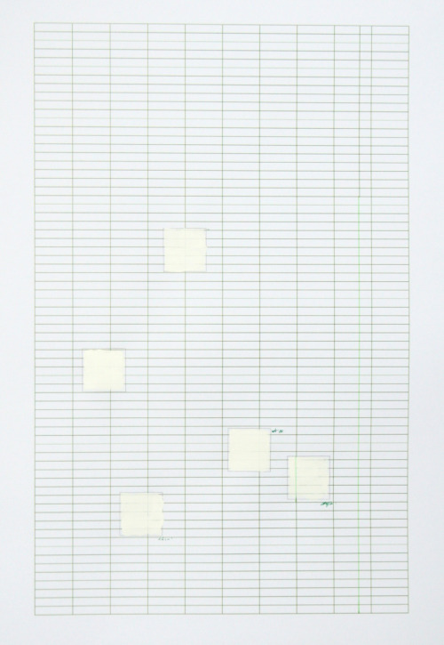 green grid, agnes [acrylic, pen and pencil on pre-printed paper by lucinda holmes]