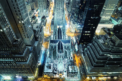 skeletales:  St. Patrick's Cathedral from Above at Night, New York City (by andrew c mace)
