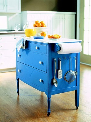 small dresser turned island, for a small kitchenand the color is beautiful