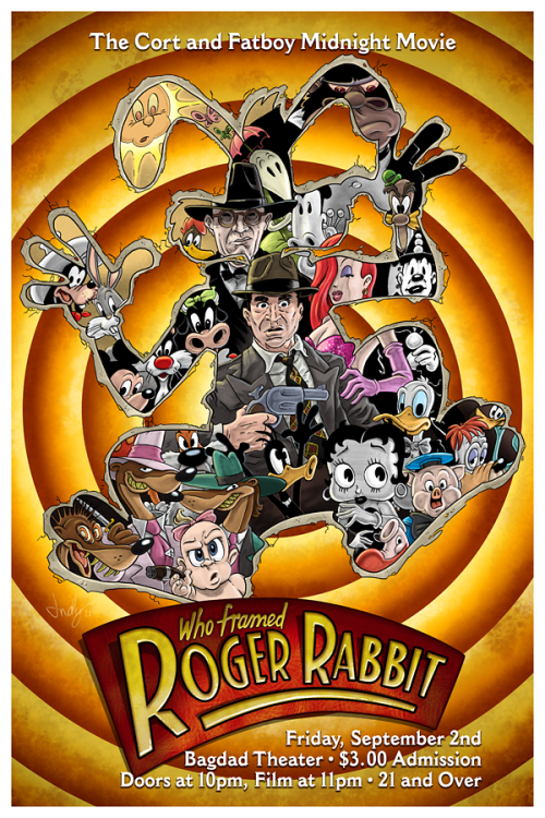 The final poster for the Midnight Movie screening of Who Framed Roger Rabbit, Sept. 2 at the Bagdad. Art and design by Indigo Kelleigh.