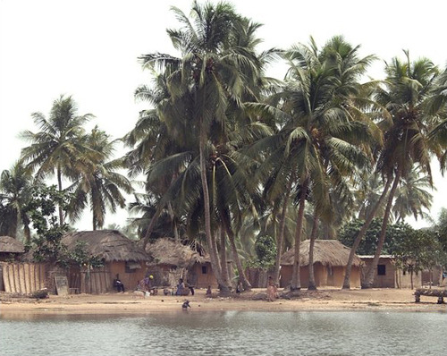Village by the water in Ghana