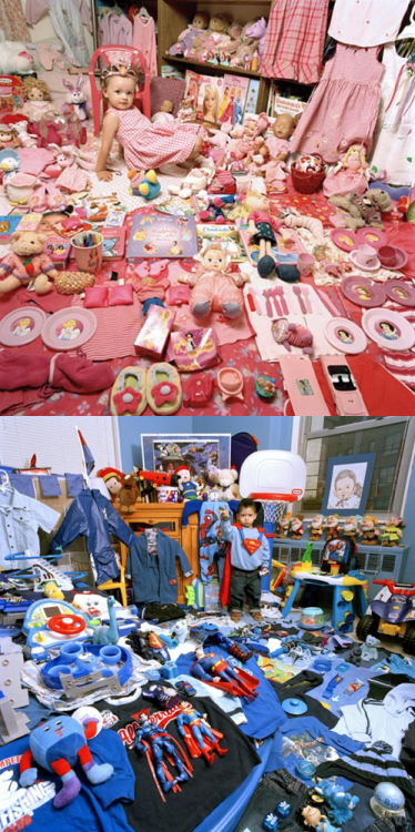 practicalandrogyny:  Sociological Images: Pictures of Kids and Their Stuff  Sociological Images: Seeing is Believing is designed to encourage all kinds of people to exercise and develop their sociological imagination by presenting brief sociological discussions of compelling and timely imagery that spans the breadth of sociological inquiry.  [Two photographs showing children's bedrooms; one is primarily pink showing a child dressed in a toy tiara and pink gingham dress surrounded by pink, pastell purple clothing, bedding, dolls, plush toys, books, plates and cutlery - even a toy car visible is pink, brands visible include Barbie and Disney Princesses; the other is primarily blue and shows a child dressed in dark blue jeans, a light blue sweater and a red toy Superman cape surrounded by blue, black and red clothing, bedding, Superman action figures, plush toys and vehicles - even some teddy bears visible are blue, brands visible include Superman, Spider-Man and Disney's Seven Dwarves. Yellow is used to decorate toys in both photographs.] Sociological Images presents a series of photographs of children posed with their possessions, raising questions about the nature of gender in our consumerist society. Such sharp segregation between girls and boys clothes and toys is a relatively recent development. See all the photographs at Sociological Images