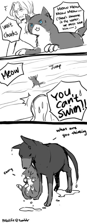 palalife:  XMFC. Cat!Charles & Dog!Erik. The ocean saving scene…idk lol  I have such a soft spot for Palas kitty Charles, so cute. I may have snuck him into my Reverse Big Bang art in honour of his adorableness and Palas brilliance *winks*