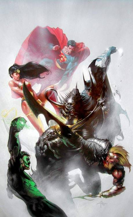 xombiedirge:  JLA by Gabriele Dell'Otto  Beautiful portrait of old school JLA.