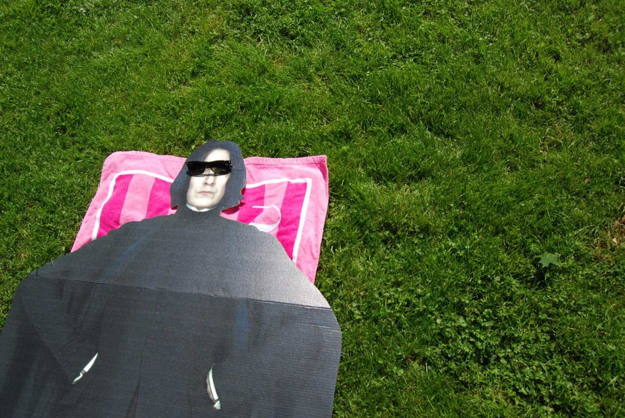 Snape works on his tan.