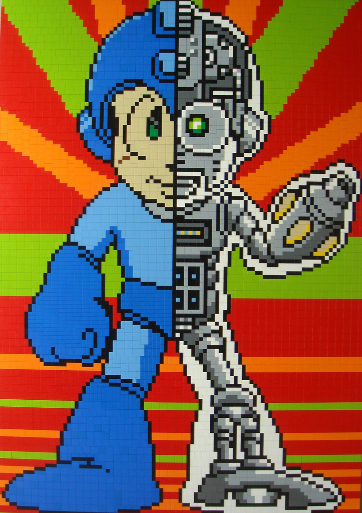 videogamenostalgia:  Robotic Mega Man Mosaic Constructed Entirely Out of LEGOs Flickr user Andy_0306uk built this amazing Robotic Mega Man LEGO mosaic. This thing is amazing! Click here to see the WIP. (via: gamergrrlz)