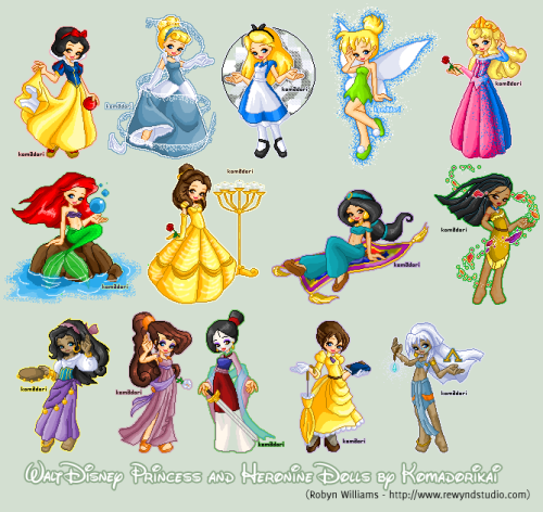 girlsbydaylight:  Disney Princesses+Heroines by *komadorikai