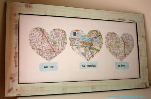 truebluemeandyou:  DIY Love Map. Found at Minimoz here. This has been posted on tumblr, but not taken from the original tutorial site, thus those posts have blurry and small images. Love this idea. Could be changed to birth, school, present or whatever you want. Cheap and clever. My favorite things.