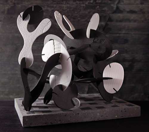 ceramicsnow:  Chris Wight: Curvilinear Construction, Slab-rolled waterjet-cut porcelain. Dimensions: approx w28 X d18 X h20 cm.