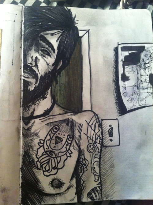 fuckyeahmoleskines:  self portrait. please follow if you like! http://dmuggg.tumblr.com