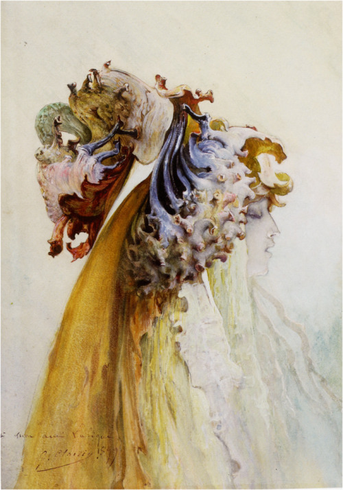 "welovepaintings: 1899 Georges Jules Victor Clairin (French, 1843-1919) ~ Buste De Femme De Profil; watercolor and gouache on paper, 31 x 42 cm (12.2"" x 16.54""), private collection"