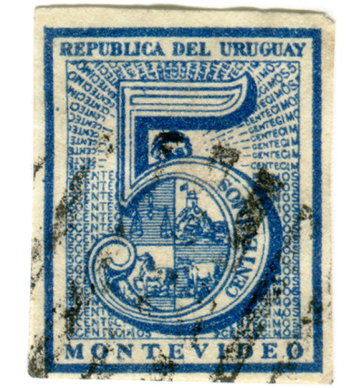 stampdesigns:  5 postage stamps from Uruguay with the number 5 (above c. 1866)