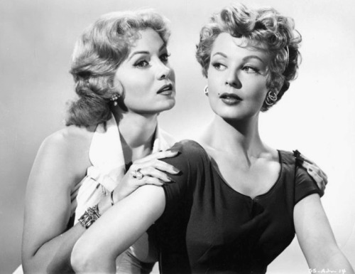 Arlene Dahl and Rhonda Fleming, publicity shot for Slightly Scarlet (1956) -via retrogirly