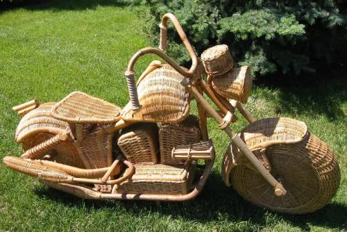 scooter pic of the day: quite a project, this wicker bike. with the amount of work that went into it, i wonder if it could be traded for a running scooter.