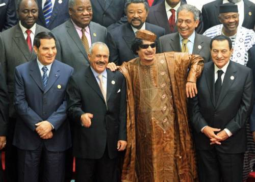 No longer smiling: Tunisia's Ali, Yemen's Saleh, Libya's Gaddafi, and Egypt's Mubarak, at last year's Arab-Africa summit. (via @pourmecoffee).