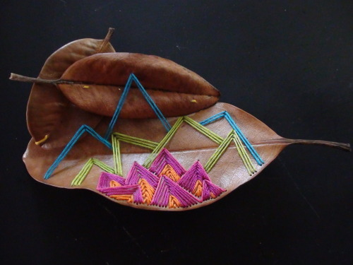 iseebichan:  embroidery on magnolia leaves, 2011  My friend Laura did this. This is amazing. She is amazing. Check out her blog!