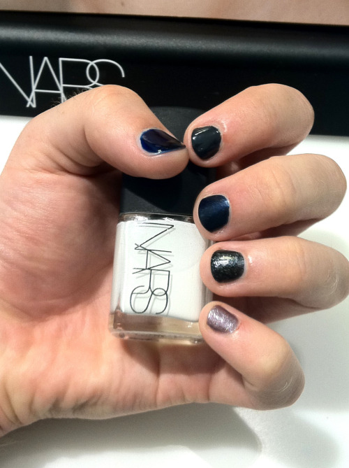 Mr. Ladyfinger models @NARSissist : The perfect Sunday is frolicking about NYC with your gay best friend. On a mad hunt for fall polishes, Scott and I found ourselves in Lord & Taylor counter-hopping. An hour and a half and 5 polishes later… Mr. Ladyfinger models the best of NARS' fall collection (along with some classic favorites). Clockwise: Koh Lanta, Galion, Night Flight, Night Breed, Night Rider, Ecume (holding).  Shout out to our new friend and L&T's awesome NARS make-up artist Marco Donadio!
