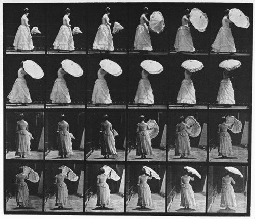 Woman Opening Parasol by Eadweard Muybridge, 1883-86