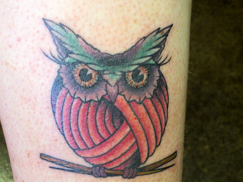 My Knit Knack Owl Tattoo on Flickr. My knitting owl tattoo I got today.  Photo taken just moments after it was done.  Yay!