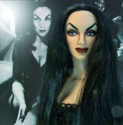 Vampira custom repainted doll - this is not mass produced, it's a Tonner doll with a face repaint.