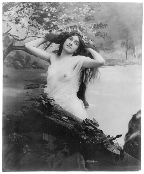 { Fritz W. Guerin - Young woman modeling: nude with garland of flowers, c.1903 }