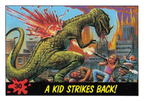 mudwerks:  (via Hairy Green Eyeball 3: Dinosaurs Attack! part 1)  From the gory trading card set, DINOSAURS ATTACK, released in 1988 by Topps. You can read more about these cards here.