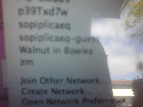 """excuse me, what's the password for Walnut in Bowles?"""