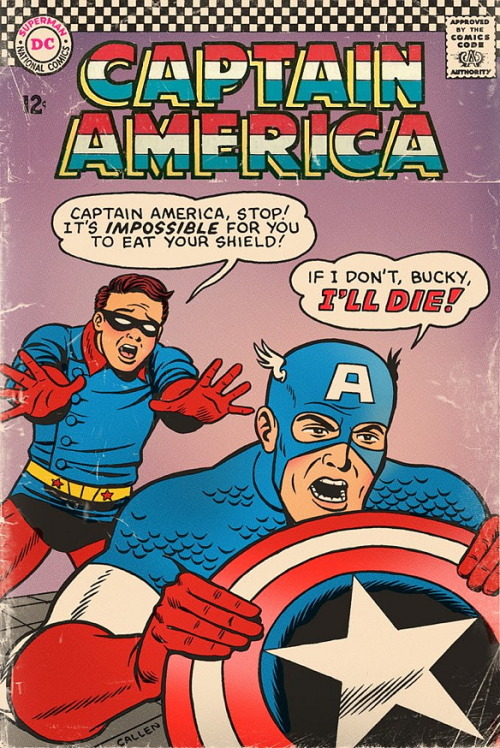 koncubine:  wonderbottom:  that one time DC was the publisher of captain america  dont eat it  sounds reasonable