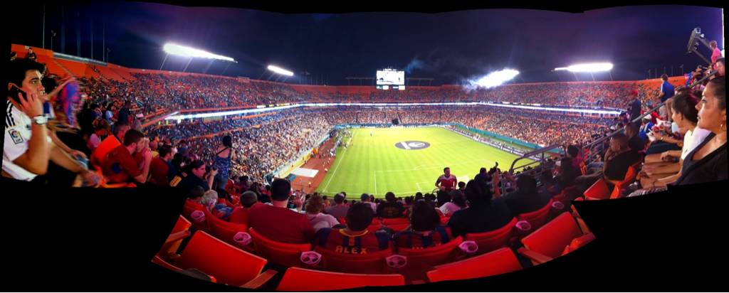 Panoramic at the Dolphins Stadium watching Barca take a beating