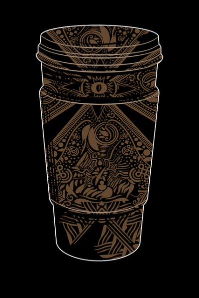 """Inspired by Coffee"" Up for voting at Threadless   Also find me here: flickr / society6 / deviantart"