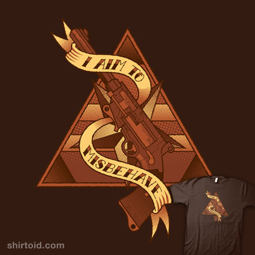 shirtoid:  I Aim to Misbehave by nakedderby is available for $10 today only (8/22) at TeeFury