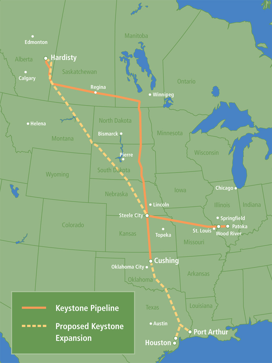 climateadaptation:  Official map of the Keystone Pipeline XL, from the U.S. Department of State. The State department has dedicated a special website, www.keystonepipeline-xl.state.gov, dedicated just to the controversial pipeline plan. The pipe will flow oil sand crude from Canada all the way to Texas. This oil be sold in international markets, not U.S. markets. The project is now under review by the EPA, and a decision will be made at the end of the year to approve, reject, or alter the plan.  If you haven't heard, about 100 protesters, some famous, have been arrested in acts of civil disobedience this past weekend at the White House.