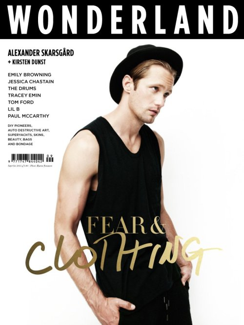 In an issue entitled Fear & Clothing, Alexander Skarsgard poses for Wonderland Magazinein an all-black get up. Kristen Dunst also landed a cover for the same issue but we don't really care about her.