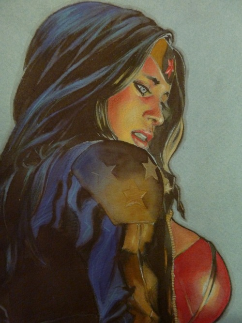 dcwomenkickingass:  xombiedirge:  Wonder Woman by Gérald Parel  I like the face on this piece. Eyes up people.  I like the face, but serially.. is that ginormus boob necessary?