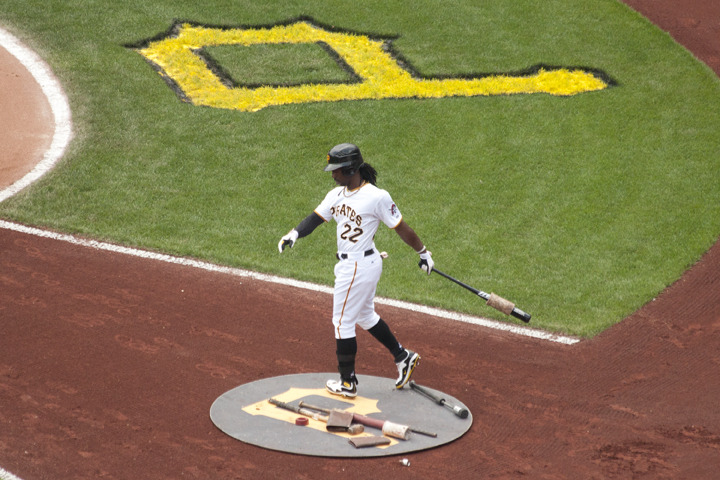 Pittsburgh Pirate Andrew McCutchen on deck. PNC Park. Pittsburgh, PA. 8/21/11 http://www.facebook.com/pages/Jason-Riedmiller-Photographer/135269316551180?ref=ts