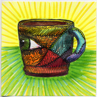 "I drew you a colorful frankenstein mug of coffee A little bit of patch work in a colorful frankenstein assembled style mug.  Hope you like it. This is part of my ""The Daily Coffee"" marker drawing series."