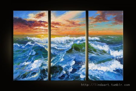 Seascape Triptych  The sea wave. Lovely piece in such hot weather. —By P.S  seascape triptych, oil on canvas (If you are interest in it, inquiry price at xiamen1986@gmail.com)