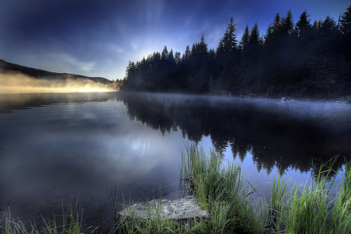 fangornforest-:  Sunrise at Trillium Lake, Oregon 2 - HDR by David Gn Photography on Flickr.