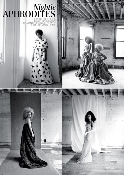 "lecoil:  Lovely NY Times spread ""Nightie Aphrodites"" featuring Solange Knowles, Corinne Bailey Rae, Les Nubians and Juno Temple. Photos by Alice O'Malley. Styled by Susan Winget. (via Tiffany)"