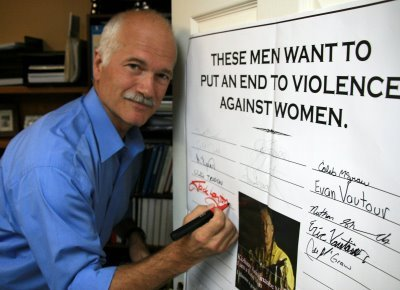 "Caption: Jack Layton signs a petition titled ""These men want to put an end to violence against women"". Layton co-founded the very well-known (in Canada, anyway) white ribbon campaign.  jhameia:  cephiedvariable:  thebeccabeast:  Jack Layton was an amazing man. Not only was he the face of the NDP party, but he was the galvanizing force of social justice, equal rights, and god damned humanity in Canada for more years than I can really remember. He was always there. The third party — a buffer between the liberals and the conservatives. Tough on both sides, making sure shit got done for the people when other parties didn't care.  He led his party to the minority seat this past election. After so many damn years of pushing and pushing and believing. Canada didn't vote for the NDP. We voted because we believed in YOU Jack. What are we going to do without you? John Gilbert ""Jack"" Layton, PC, MP  July 18, 1950 – August 22, 2011  oh my god oh my god no no no no no no no no  My condolences, Canuck NDP supporters =(  It's not just NDP supporters who are mourning. Jack is the only politician I can think of who has been genuinely liked and respected by people all over the political spectrum. He's never struck me as the kind of guy who will say whatever to get votes, and slide all over the place till he's indistinguishable from his opponent; he actually believed in his causes. How many federal politicians can you say that about?  Oddly enough for a chronic depressive, I am optimistic, because I've met lots of people in politics and community organizing who are like Jack, with that same blend of toughness and caring. And then there's all the people who he's inspired to go into politics and get involved—no doubt including some of those callow young MPs who ran for the NDP not thinking they'd get elected! I'm not particularly looking forward to waking up tomorrow knowing I'm in a world without Jack Layton…but he planted a lot of seeds, and a lot of 'em have yet to grow.  Like one of the chalked messages on the wall of the City Hall ramp says,  Thank you 4 the fight we got it from here"