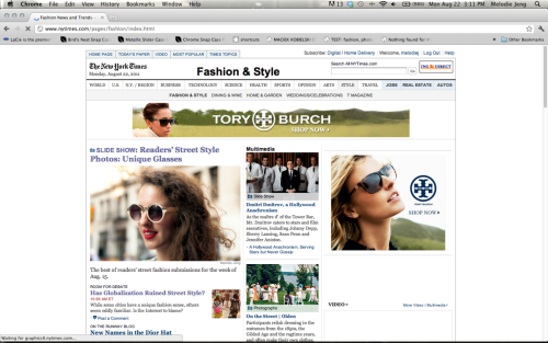 "Repost: My two photos in the NYTimes Fashion & Style Slideshow this week (#4 & #7). They usually post on Monday but they posted on Friday actually. Waiting to see what this week's theme is. Random notes: I'm officially on Tumblr/Twitter/EVERYTHING now so my brain is going crazy and I'm posting a lot … I'll stop … eventually. Random note 2: The NYTIMES was accidently sent to my house when I was about 17, in Ohio, and I was OBSESSED. Now I'm making baby steps to be in it, well the web version since it's going to be nonexistent in 10 years. #3 - I have started tagging my tumblr posts in hopes that I can archive my work or do a post on a theme like, let's say ""red,"" but I can't find anything when I use the search function - I guess it is separate? help? #4 Also, I'm still figuring out some things on Twitter … help. I'm also going to start a FB page for this website instead of forwarding everything to my personal RB. Need to figure out workflow. Leggo. X www.thenycstreets.com www.twitter.com/thenycstreets http://www.nytimes.com/slideshow/2011/08/22/fashion/street-style-glasses.html?ref=fashion"