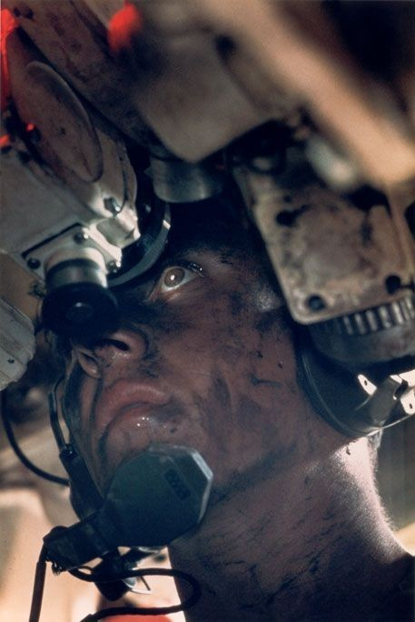 Inside a tank: The commander of an M48 tank during the Vietnam War. South Vietnam, 1967.